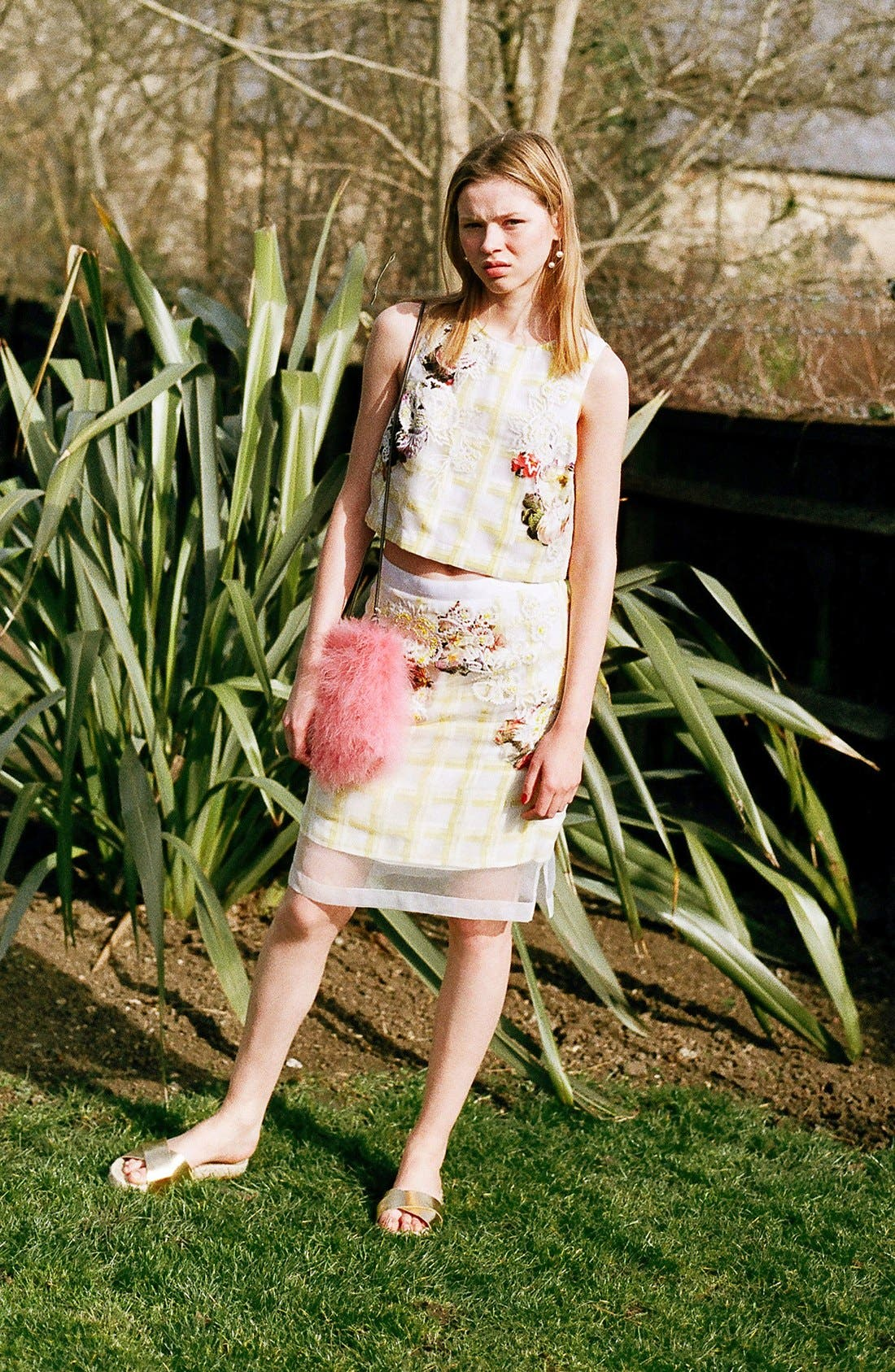 Alternate Image 2  - Topshop Flower Check A-Line Skirt (Limited Edition)