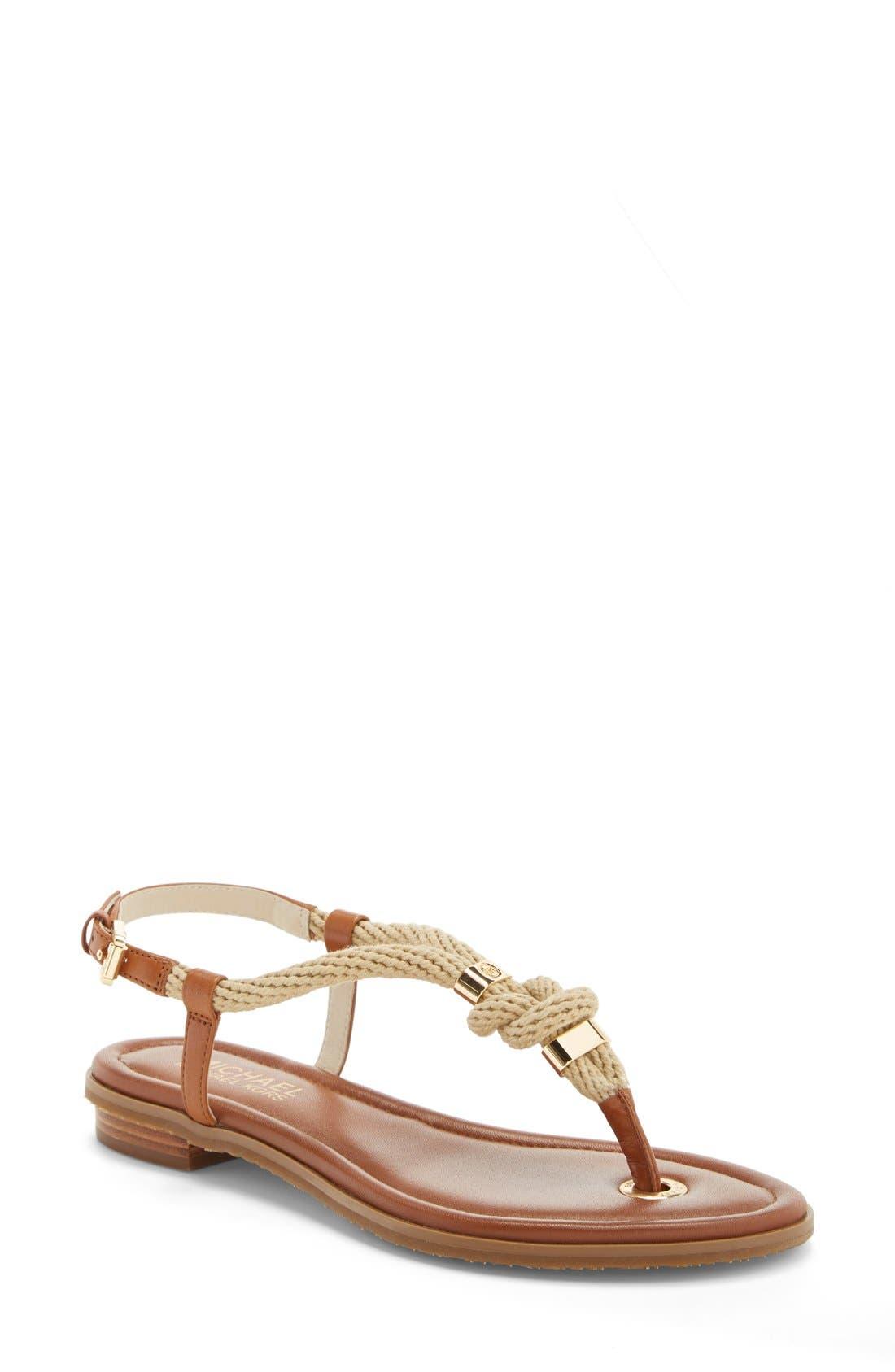 Alternate Image 1 Selected - MICHAEL Michael Kors 'Holly' Leather Thong Sandal (Women)