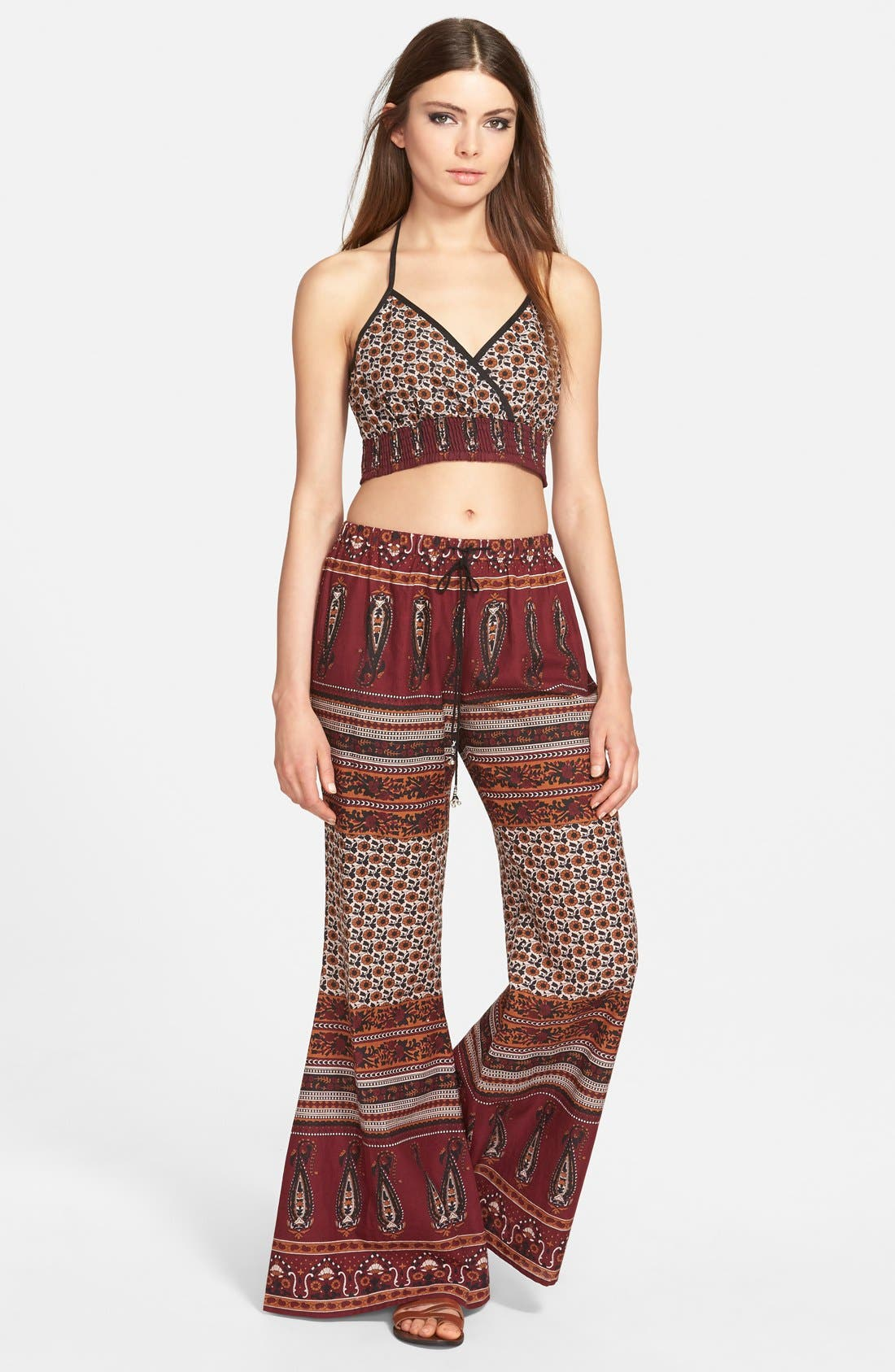 Alternate Image 4  - Band of Gypsies Gauzy Wide Leg Pants