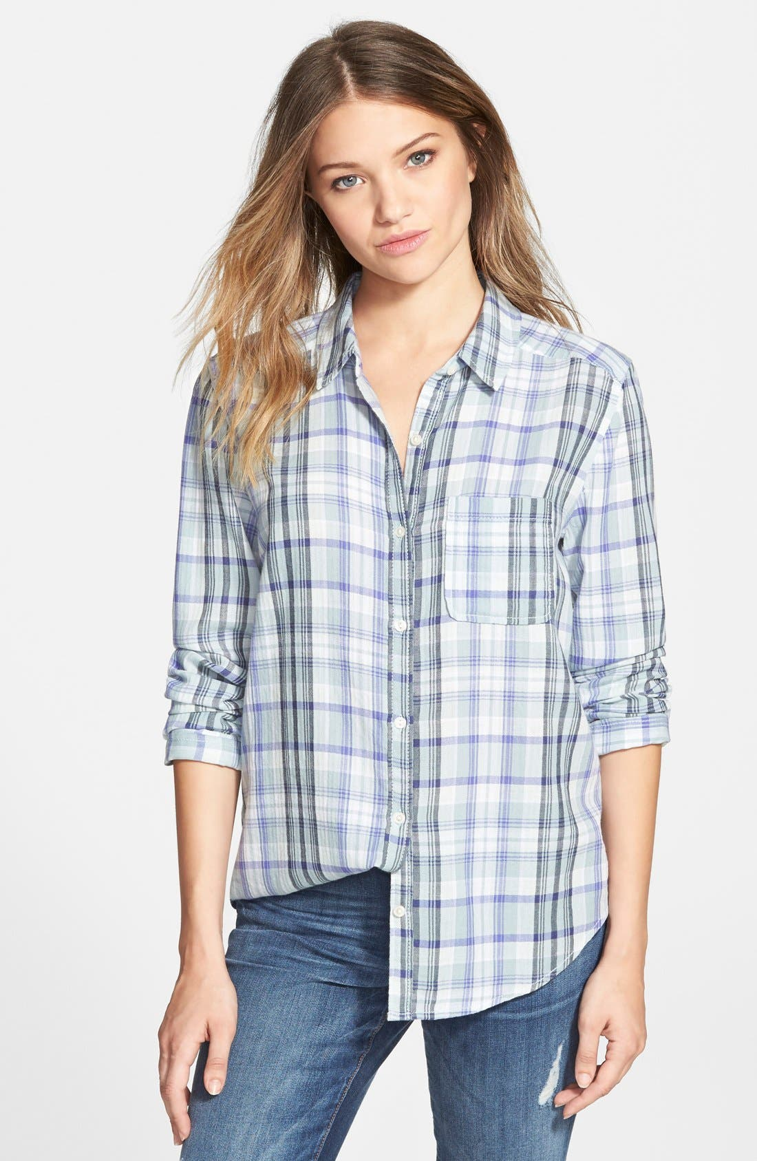 Alternate Image 1 Selected - BP. Plaid Shirt (Juniors)