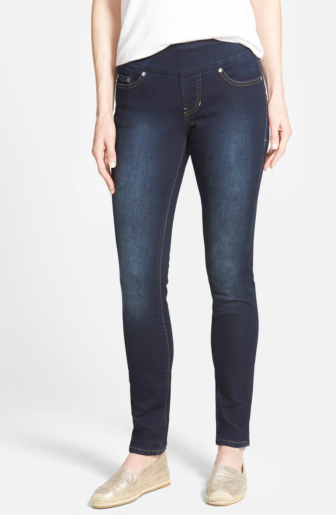 Alternate Image 1 Selected - Jag Jeans 'Nora' Pull-On Stretch Knit Skinny Jeans (Dark Whale) (Petite)