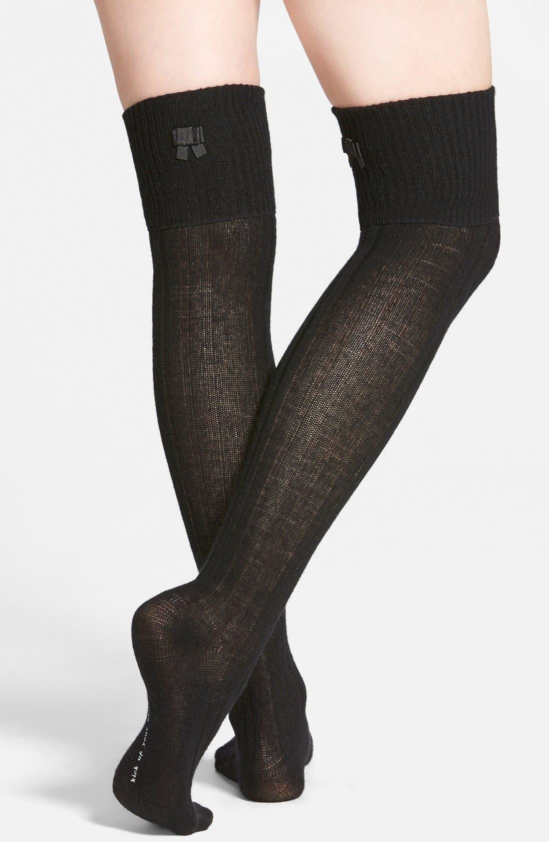 Alternate Image 1 Selected - kate spade new york bow detail ribbed over the knee socks