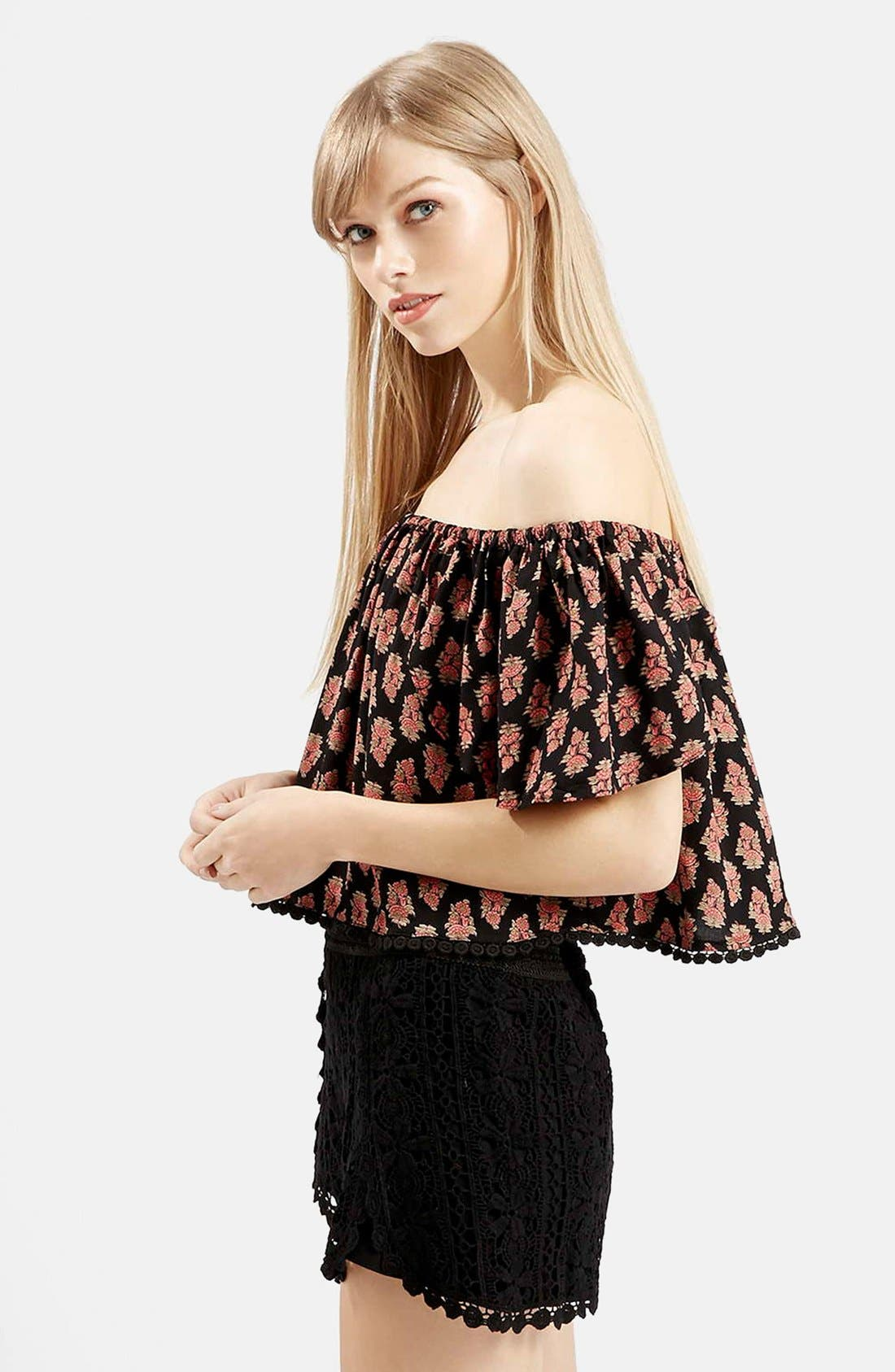 Main Image - Topshop Tile Print Off the Shoulder Top