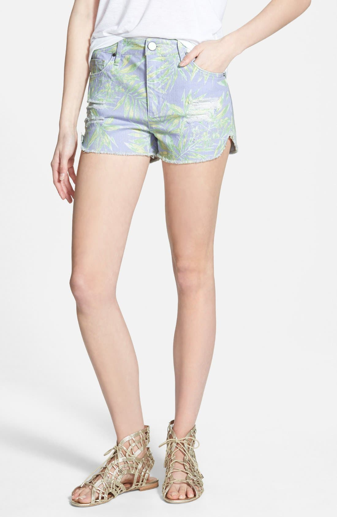 Alternate Image 1 Selected - Fire Print Cutoff Shorts (Tropicana)