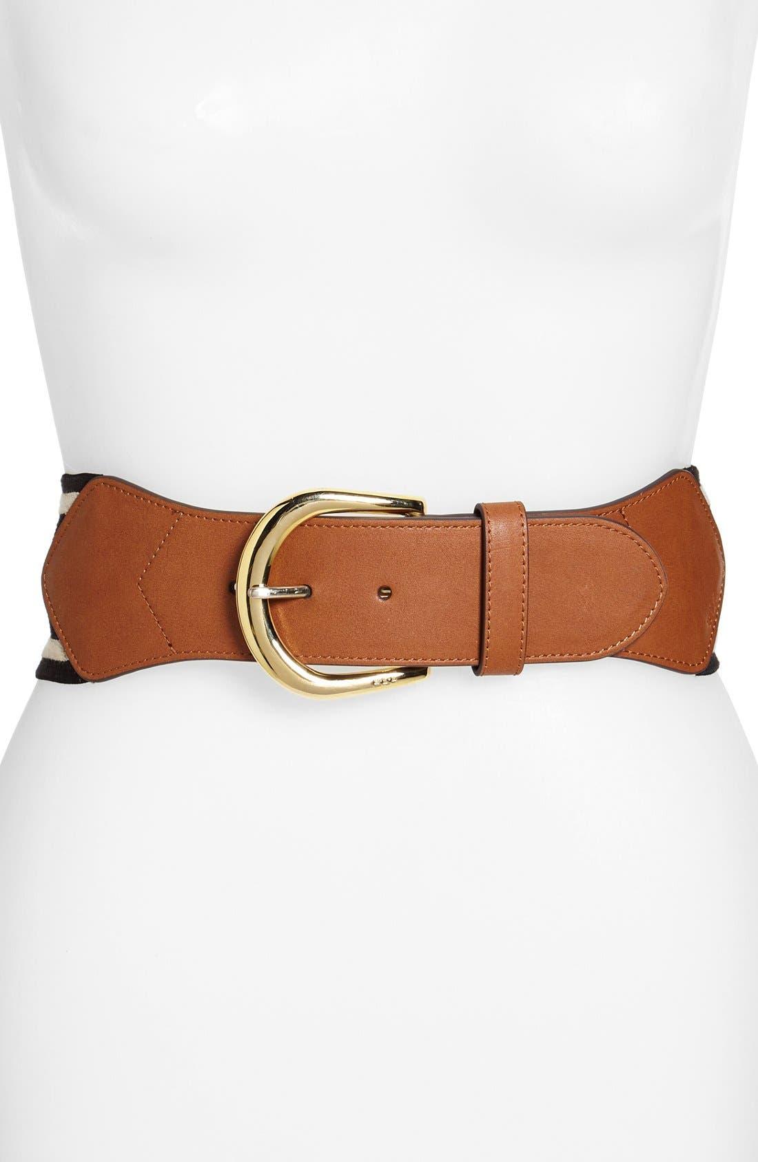Alternate Image 1 Selected - Lauren Ralph Lauren Stripe Elastic & Leather Belt