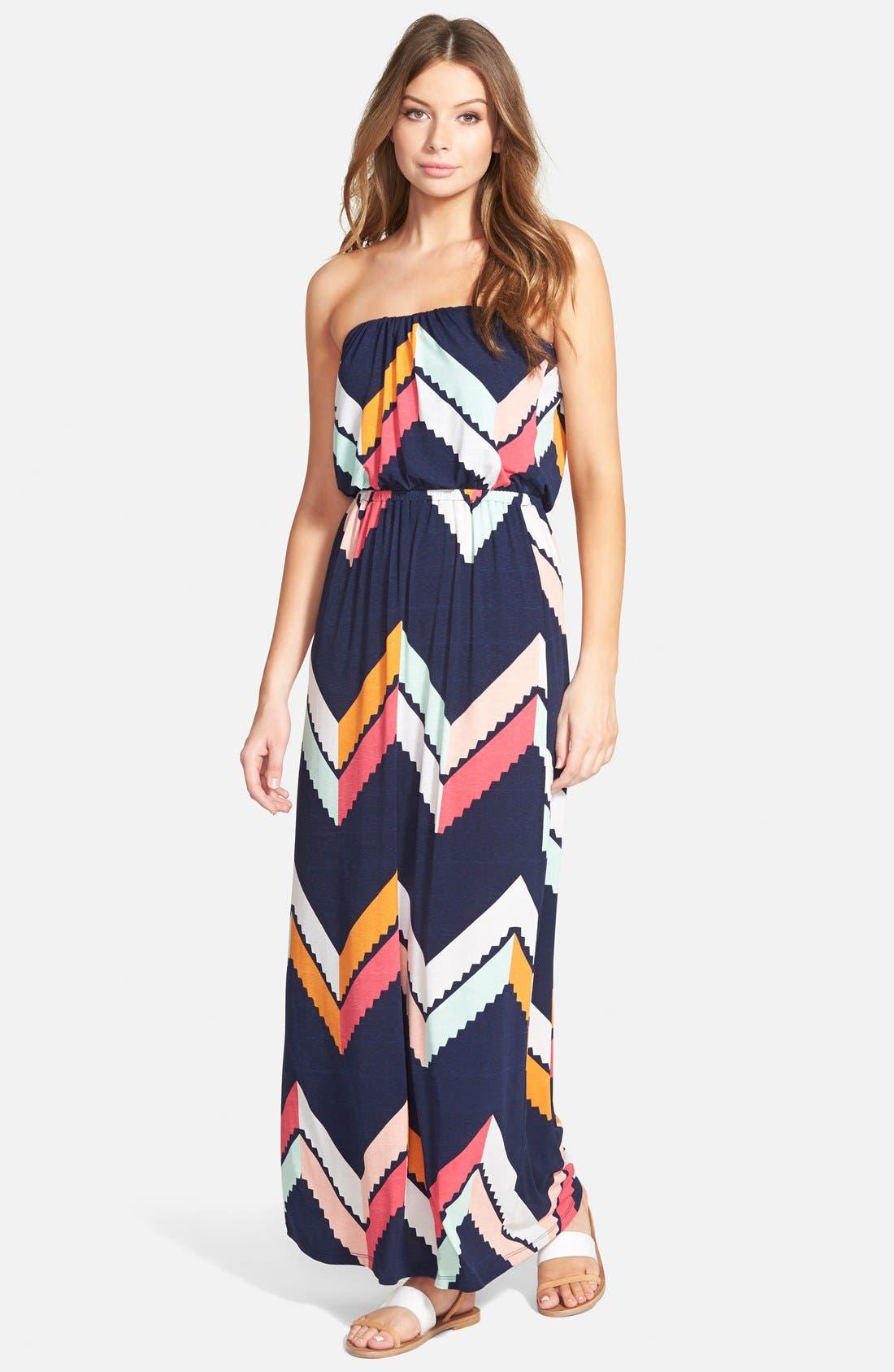 Main Image - Trixxi Chevron Print Maxi Dress (Juniors)