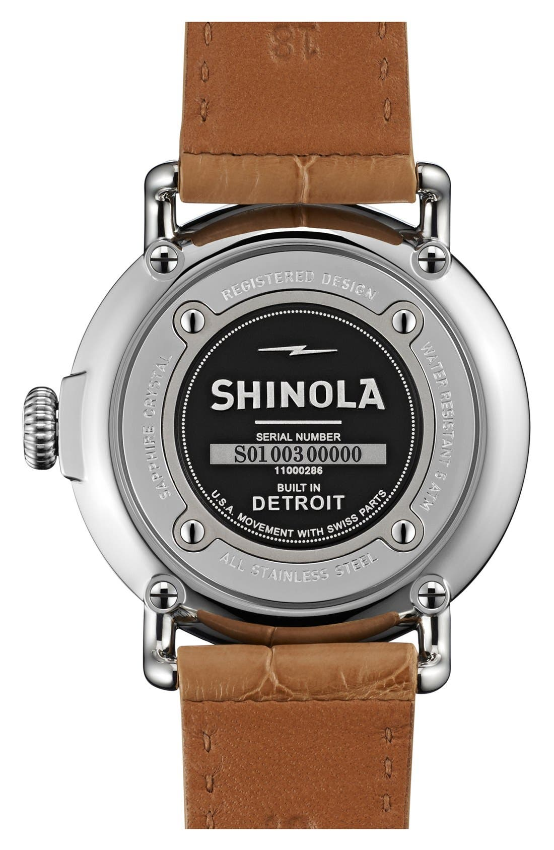 Alternate Image 2  - Shinola 'The Runwell' Moon Phase Leather Strap Watch, 36mm