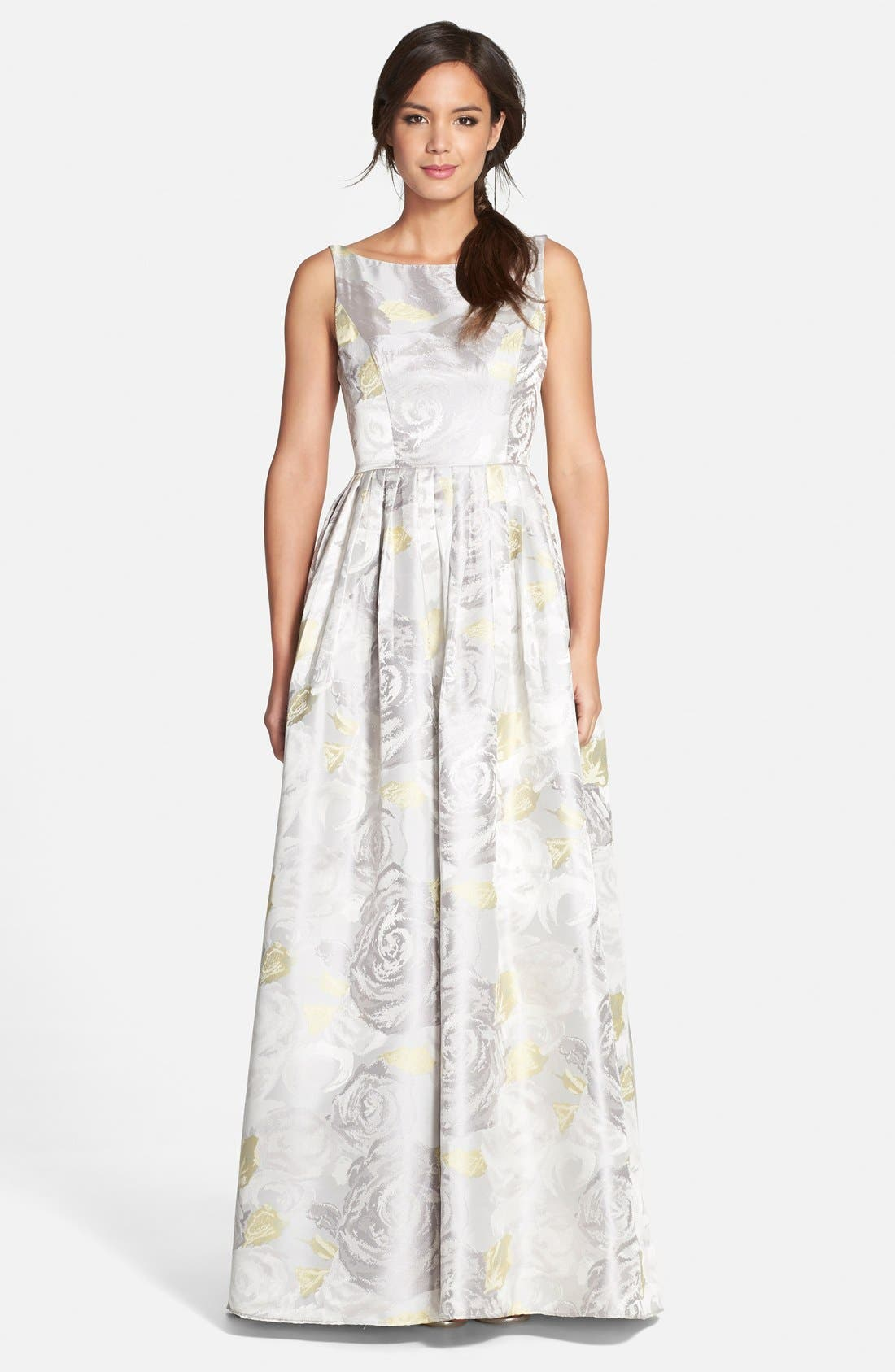 Alternate Image 1 Selected - Adrianna Papell Floral Print Jacquard Ballgown