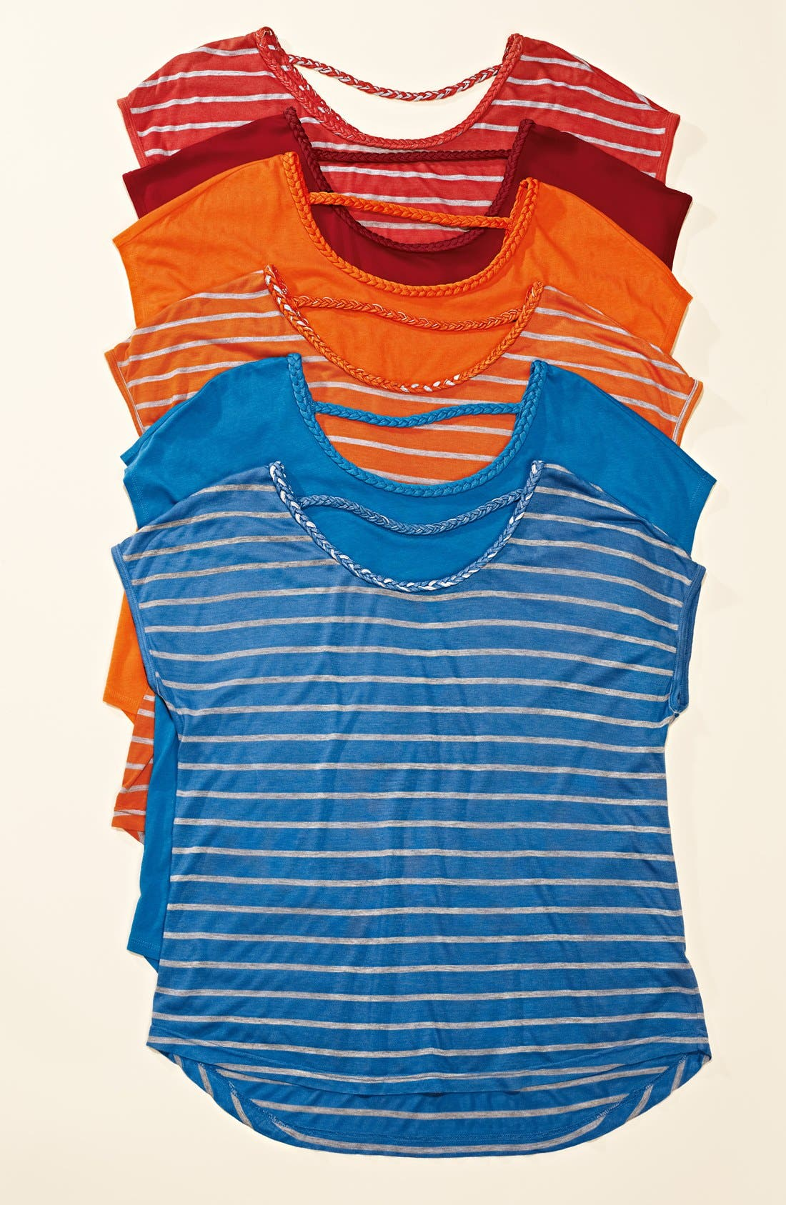 Alternate Image 4  - Two by Vince Camuto Braid Trim Stripe Tee