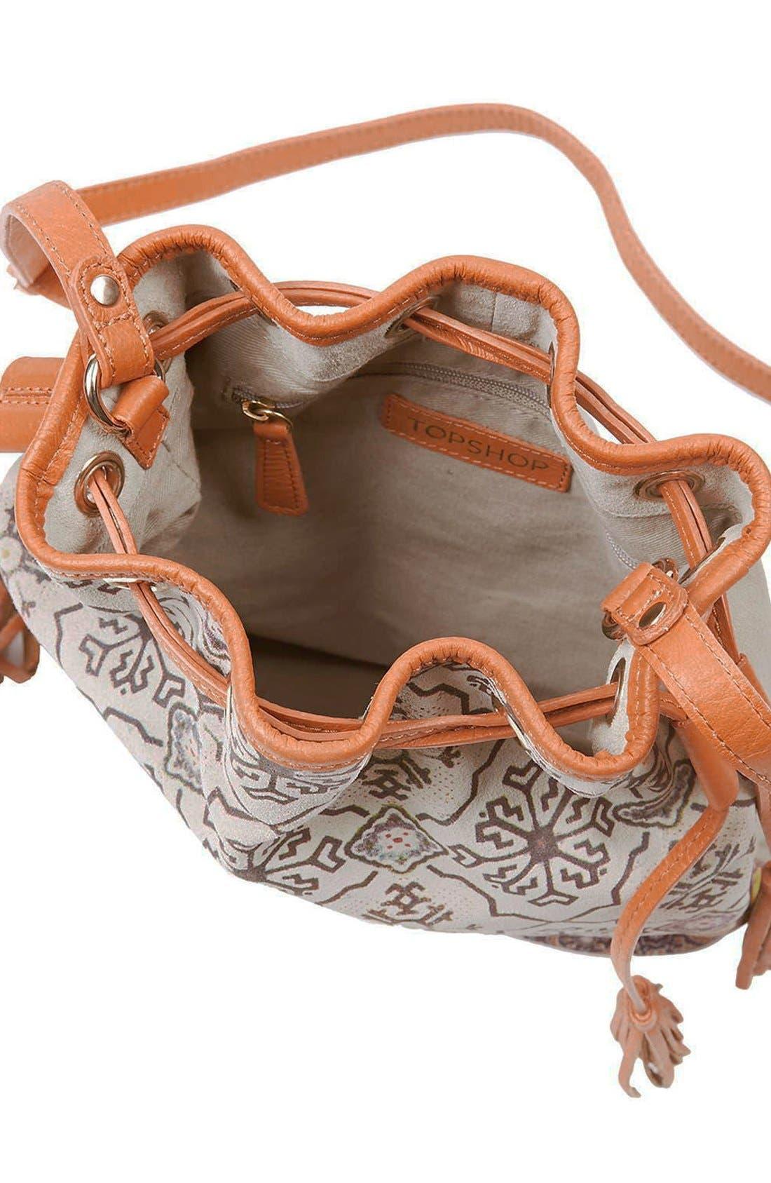Alternate Image 4  - Topshop Print Suede Bucket Bag