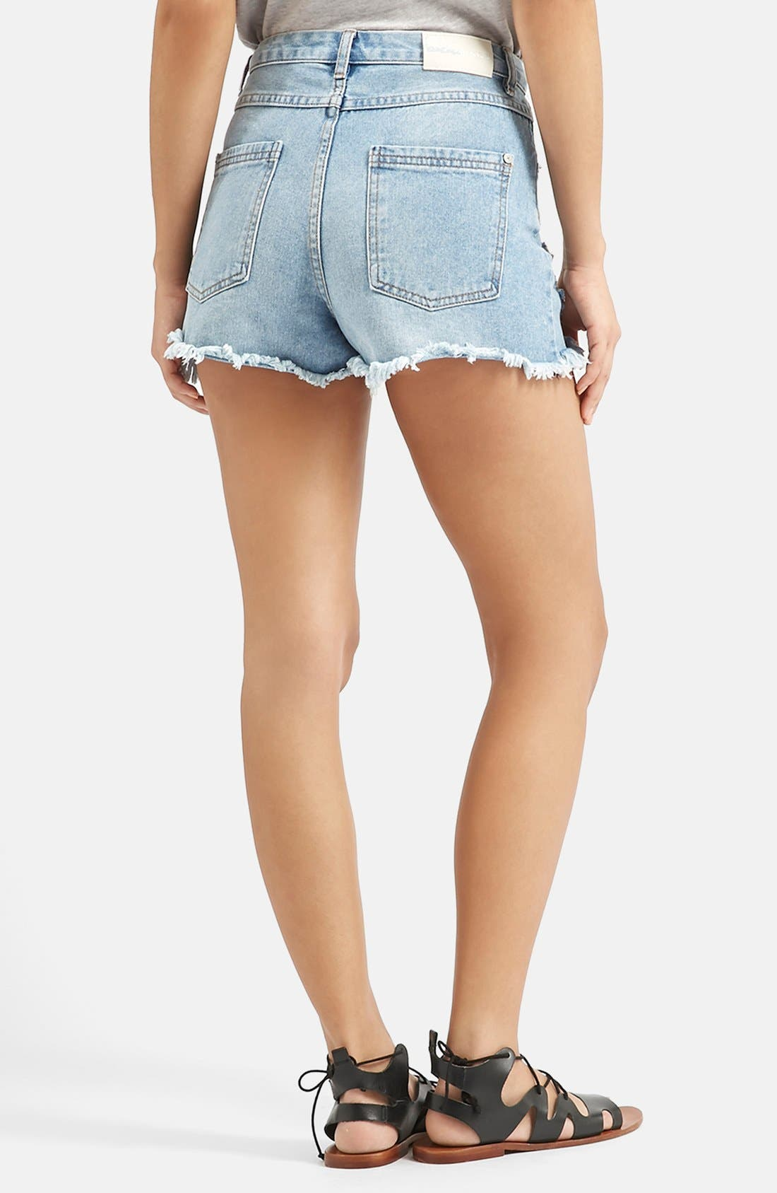Alternate Image 3  - KENDALL + KYLIE at Topshop High Rise Denim Shorts (Blue)