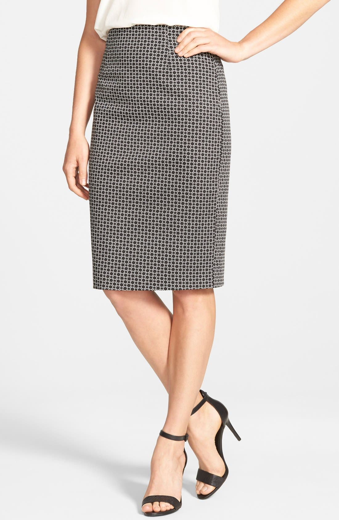Alternate Image 1 Selected - Halogen® Print Pencil Skirt (Regular & Petite)
