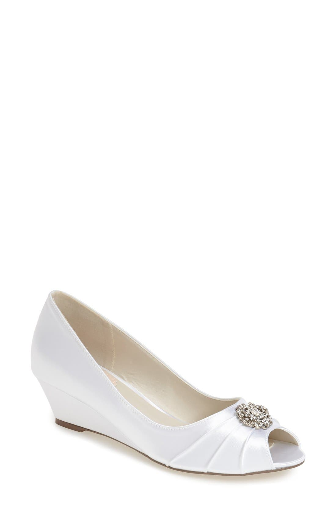 pink paradox london 'Coffee' Crystal Embellished Peep Toe Wedge (Women)