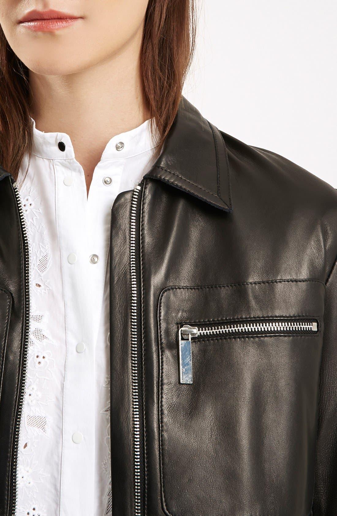 Alternate Image 4  - Topshop Unique 'Mason' Crop Leather Bomber Jacket