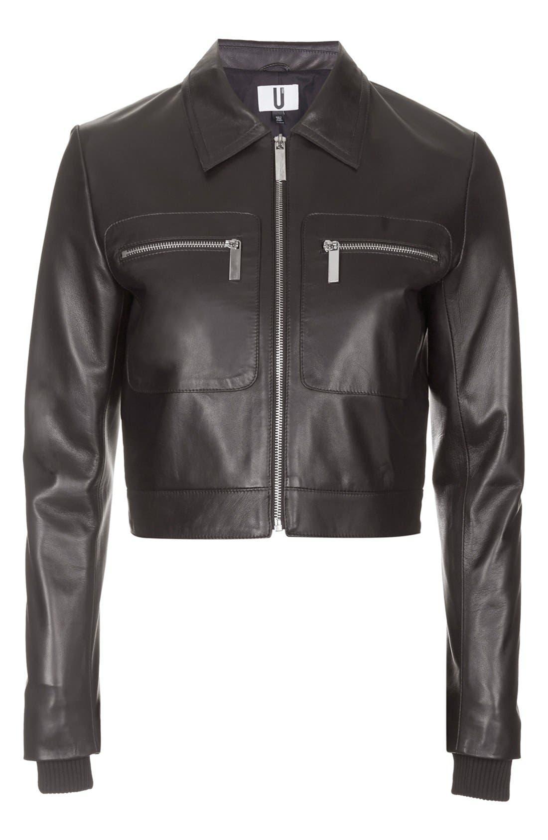 Alternate Image 3  - Topshop Unique 'Mason' Crop Leather Bomber Jacket
