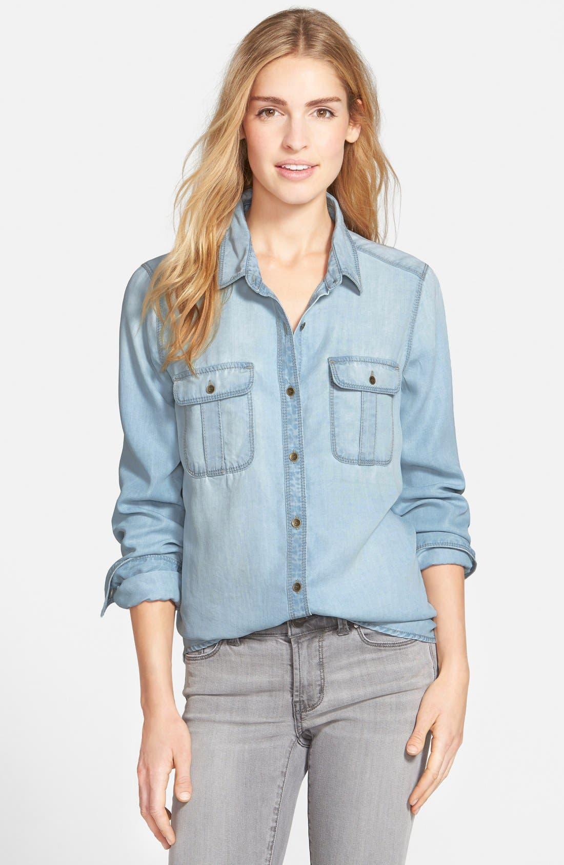 Alternate Image 1 Selected - Halogen® Tencel® Denim Shirt (Regular & Petite)
