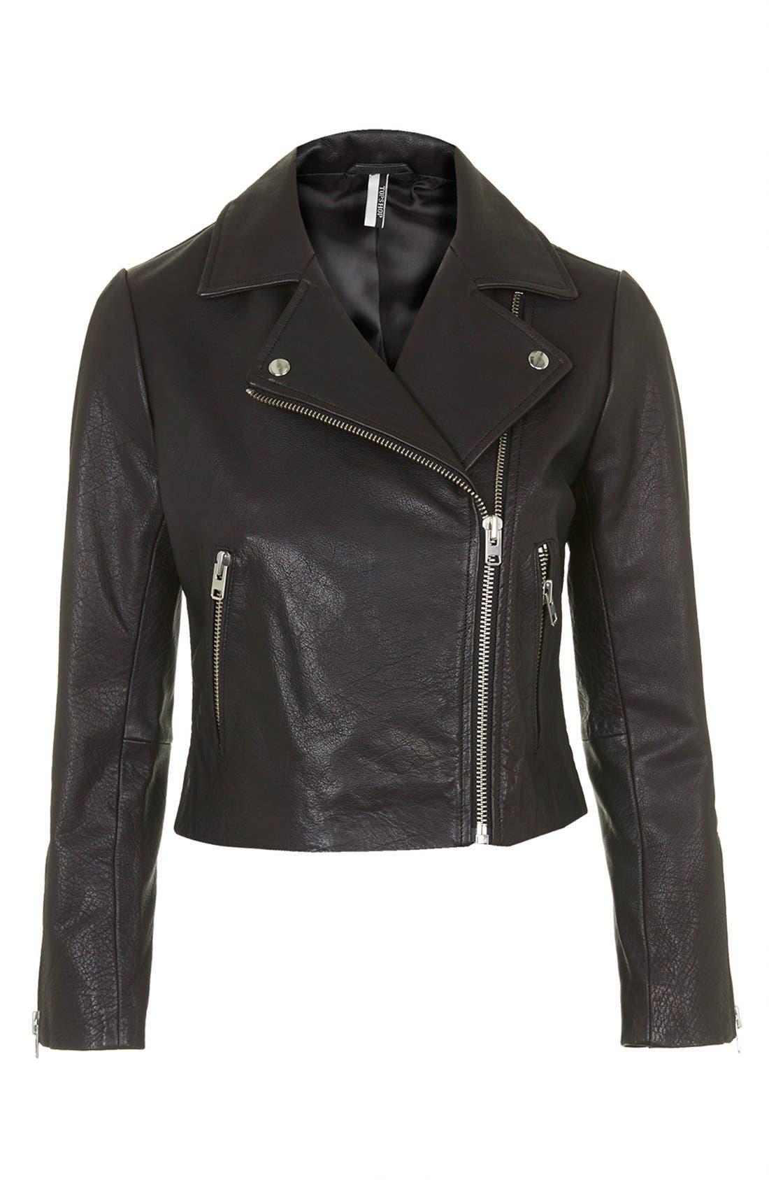 Alternate Image 4  - Topshop Leather Biker Jacket