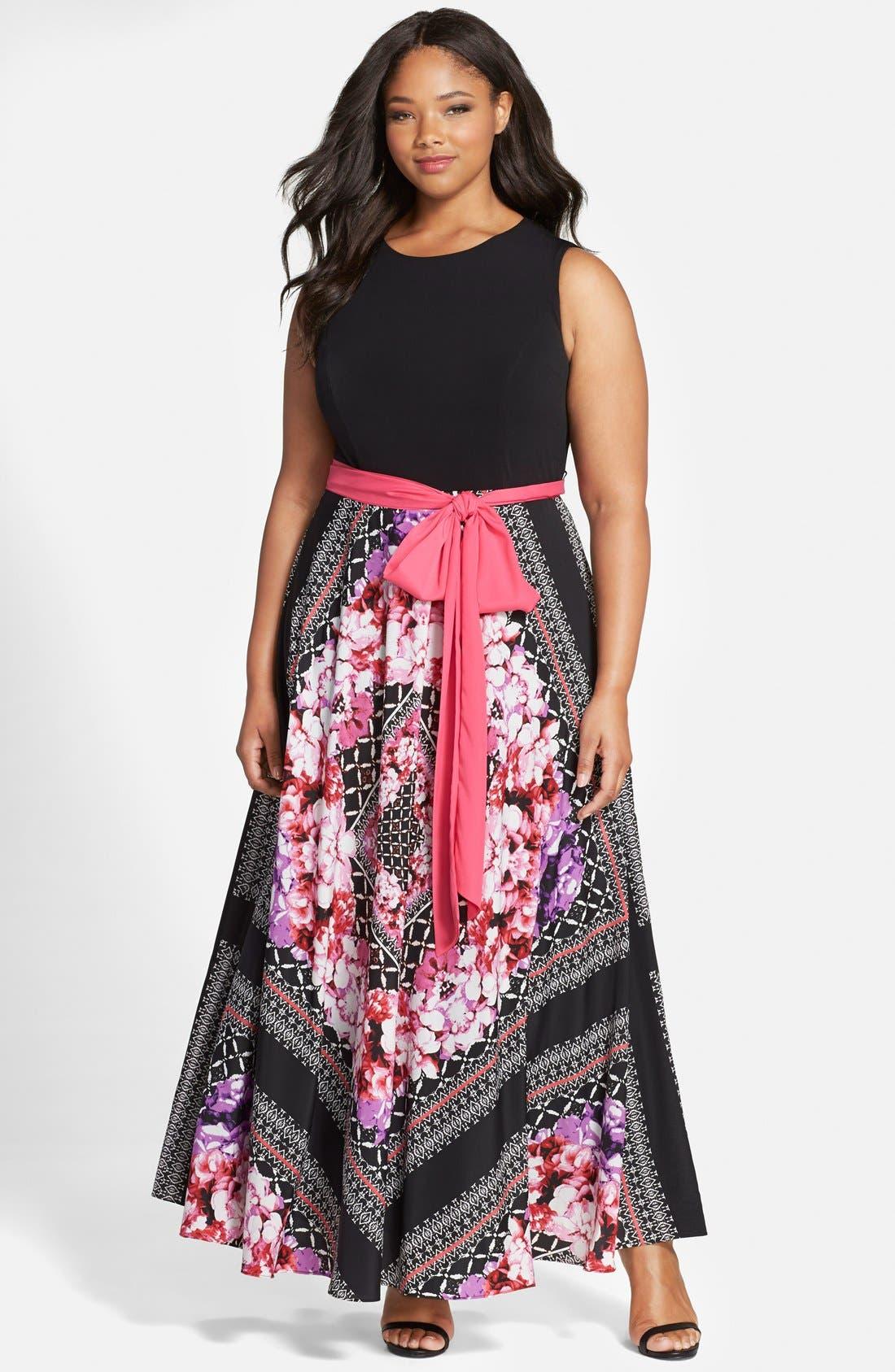 Main Image - Eliza J Scarf Print Jersey & Crêpe de Chine Maxi Dress (Plus Size)