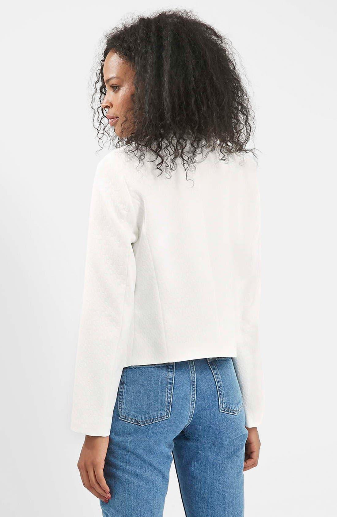 Alternate Image 2  - Topshop 'Poppy' Textured Double Collar Blazer