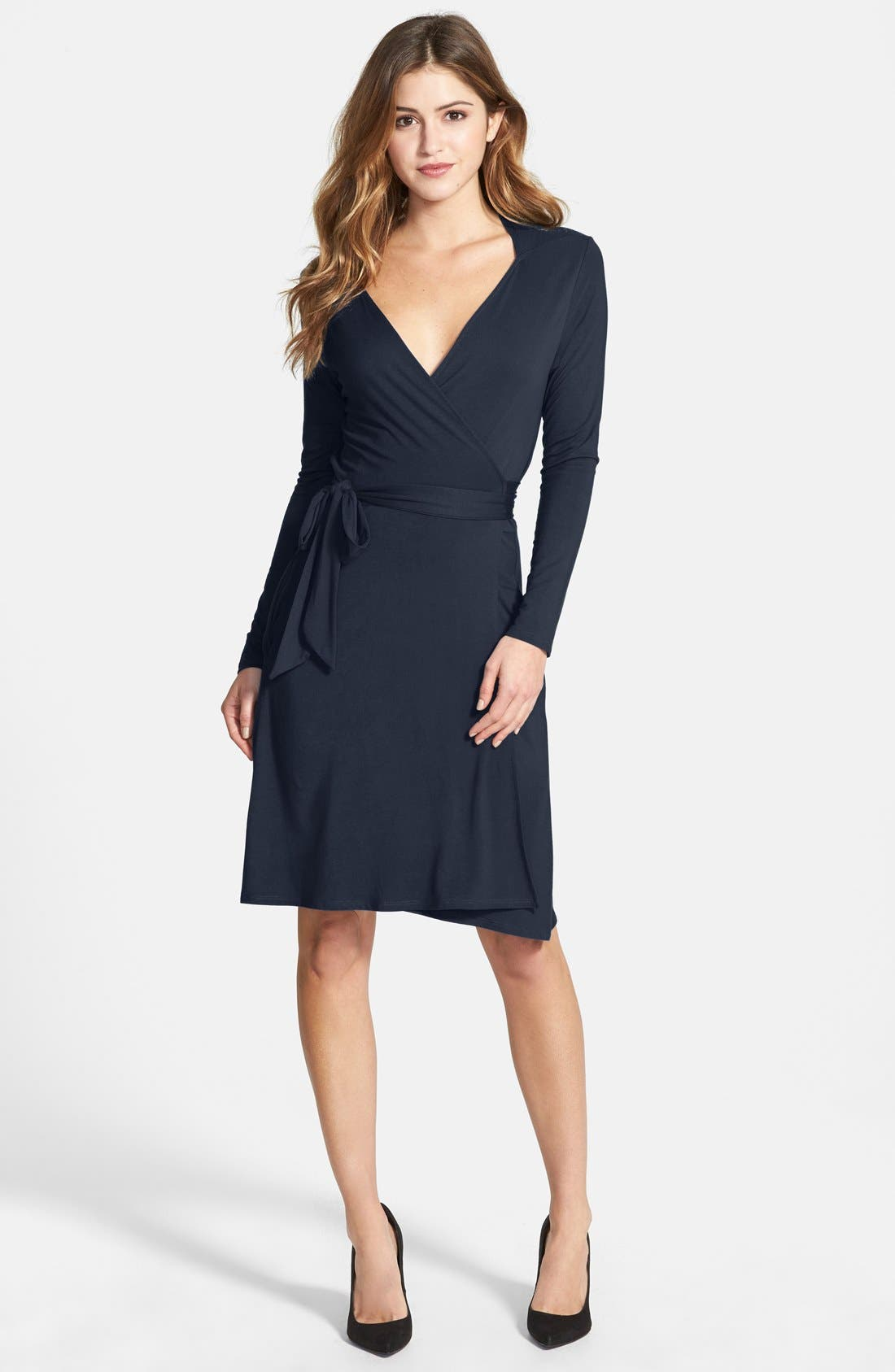 Alternate Image 1 Selected - Loveappella Seamed Wrap Dress (Regular & Petite)