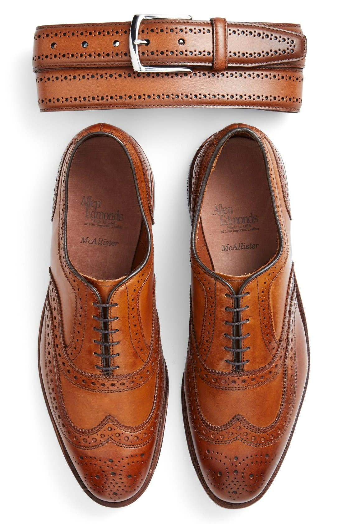 Alternate Image 3  - Allen Edmonds Manistee Brogue Leather Belt
