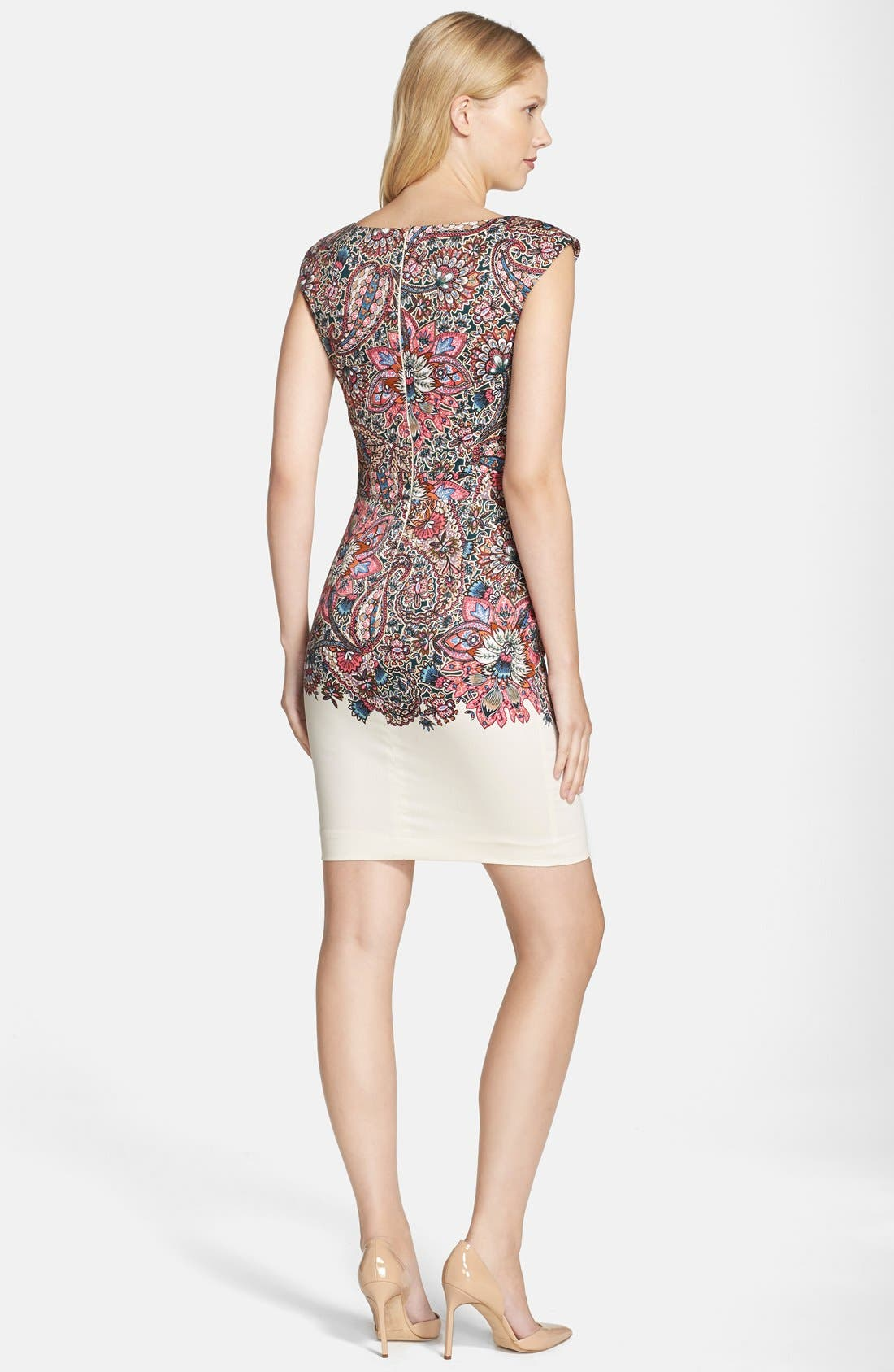 Alternate Image 2  - French Connection Placed Print Stretch Cotton Sheath Dress