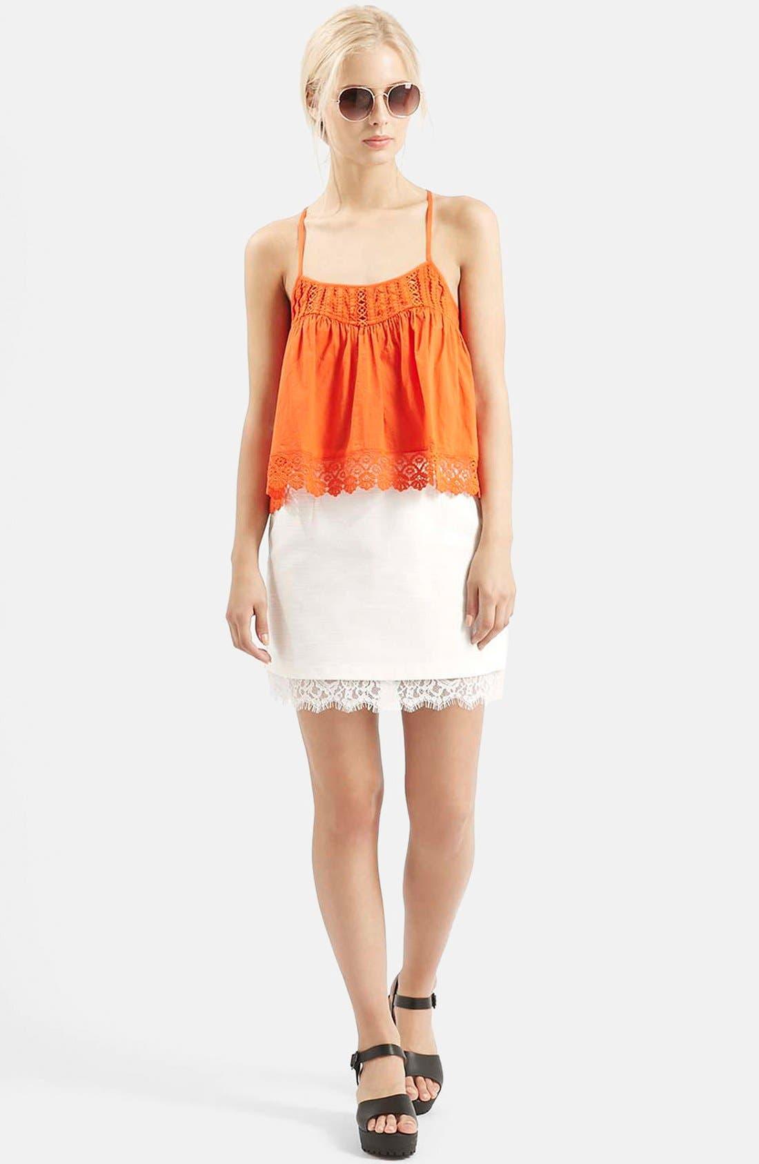 Alternate Image 5  - Topshop Textured Lace Hem Miniskirt