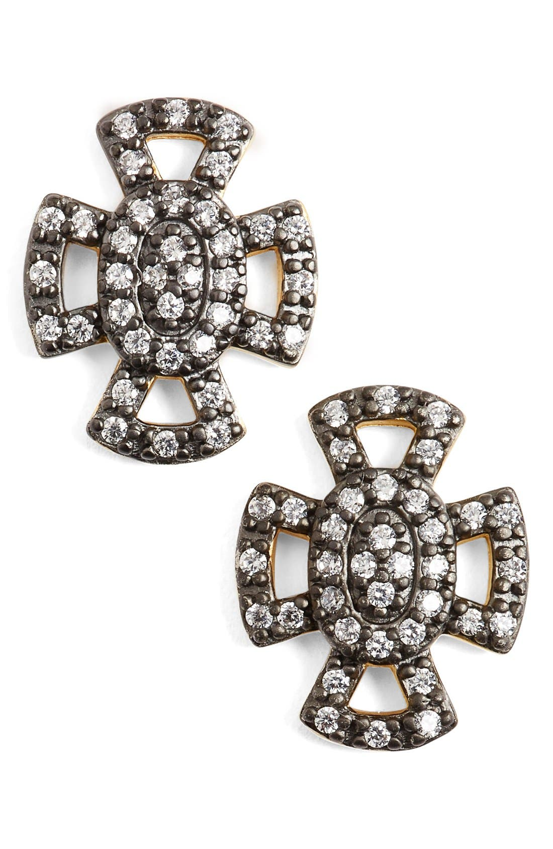 FREIDA ROTHMAN 'Metropolitan' Maltese Cross Stud Earrings