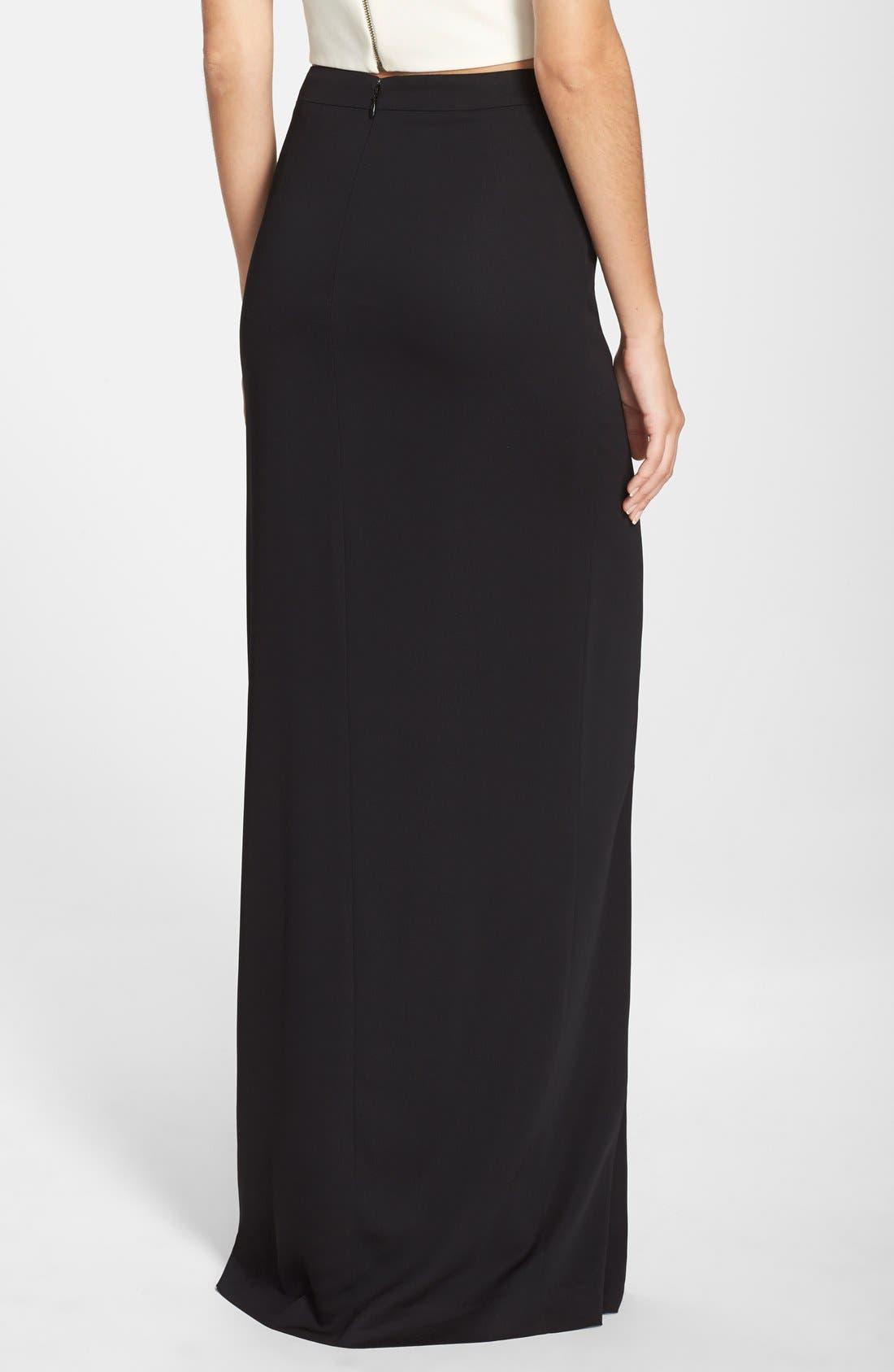 Alternate Image 2  - Nicole Miller Front Slit Stretch Crepe Maxi Skirt
