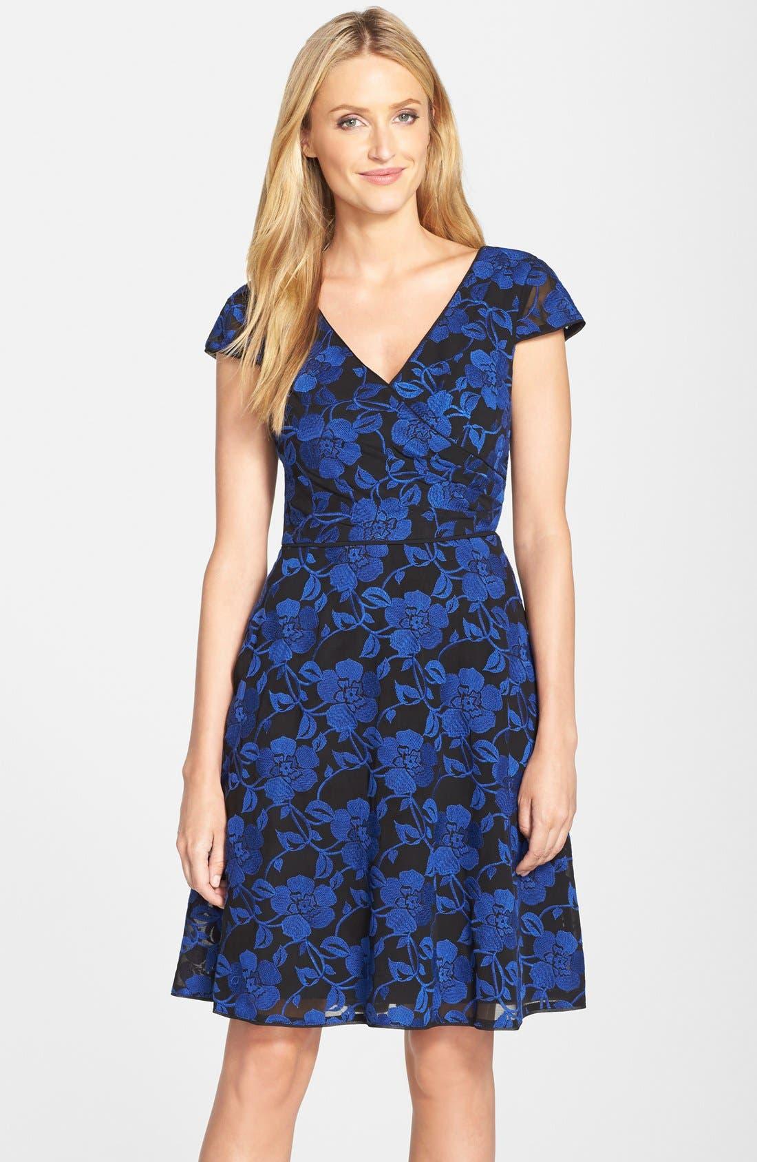 Main Image - Adrianna Papell Print Chiffon Fit & Flare Dress