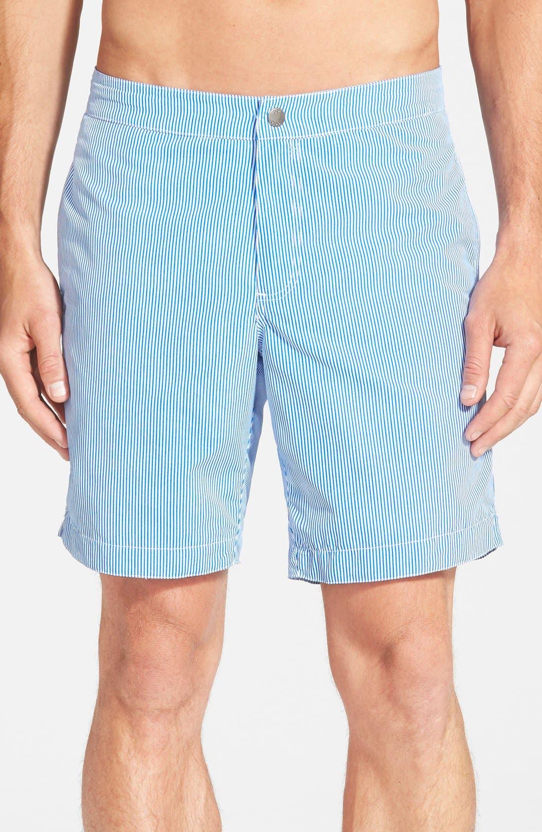 boto 'Aruba - Stripe' Tailored Fit 8.5 Inch Board Shorts