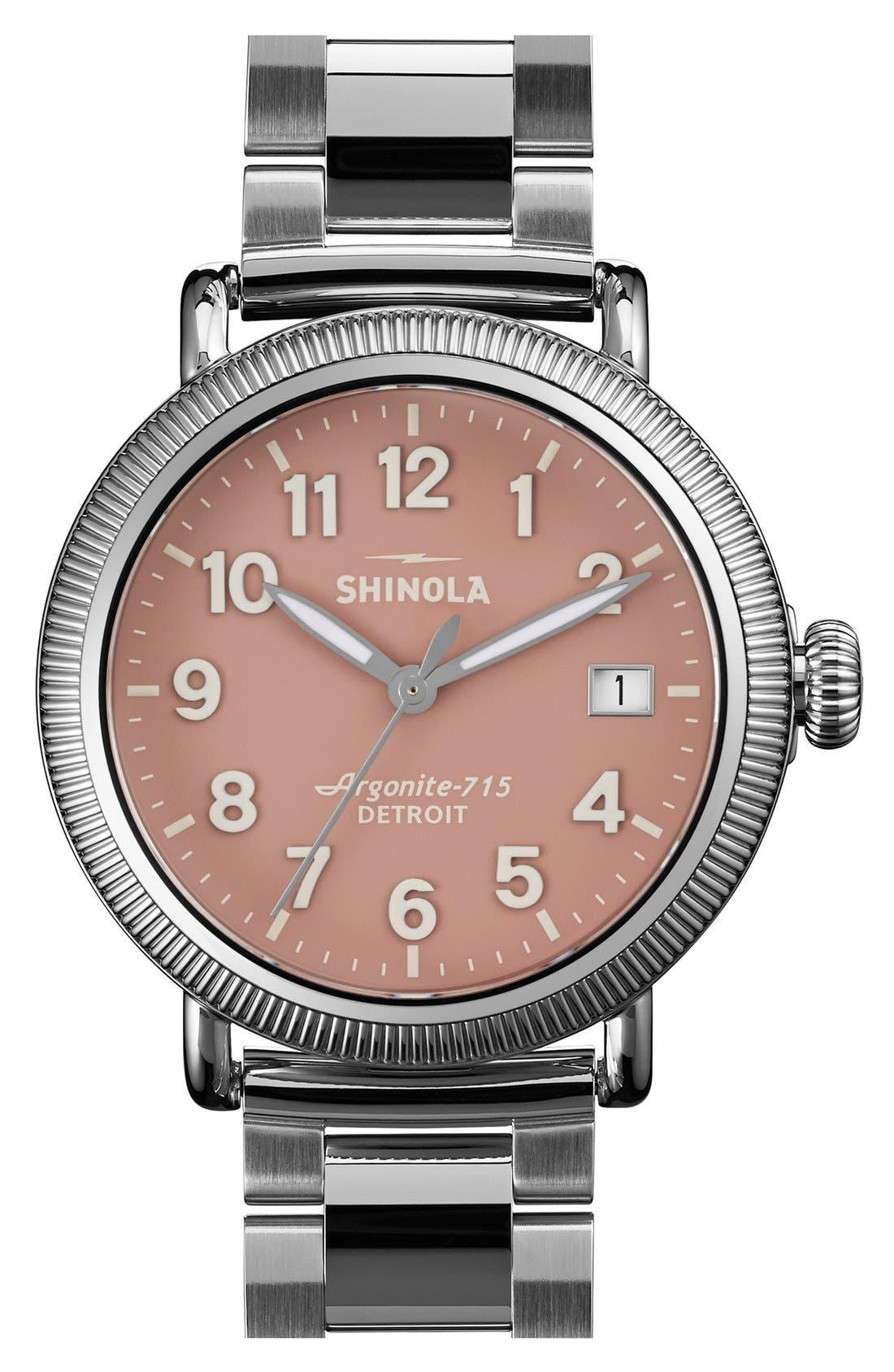 Alternate Image 1 Selected - Shinola 'The Runwell' Leather Bracelet Watch, 38mm
