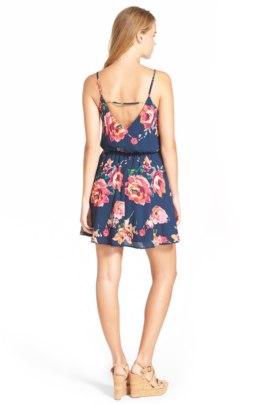 Alternate Image 2  - Everly Floral Print Strap Back Skater Dress