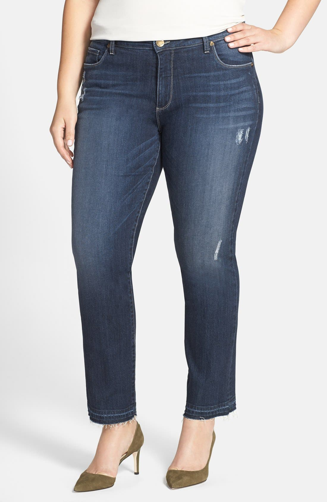 Main Image - KUT from the Kloth 'Reese' Released Hem Distressed Stretch Ankle Jeans (Hard) (Plus Size)