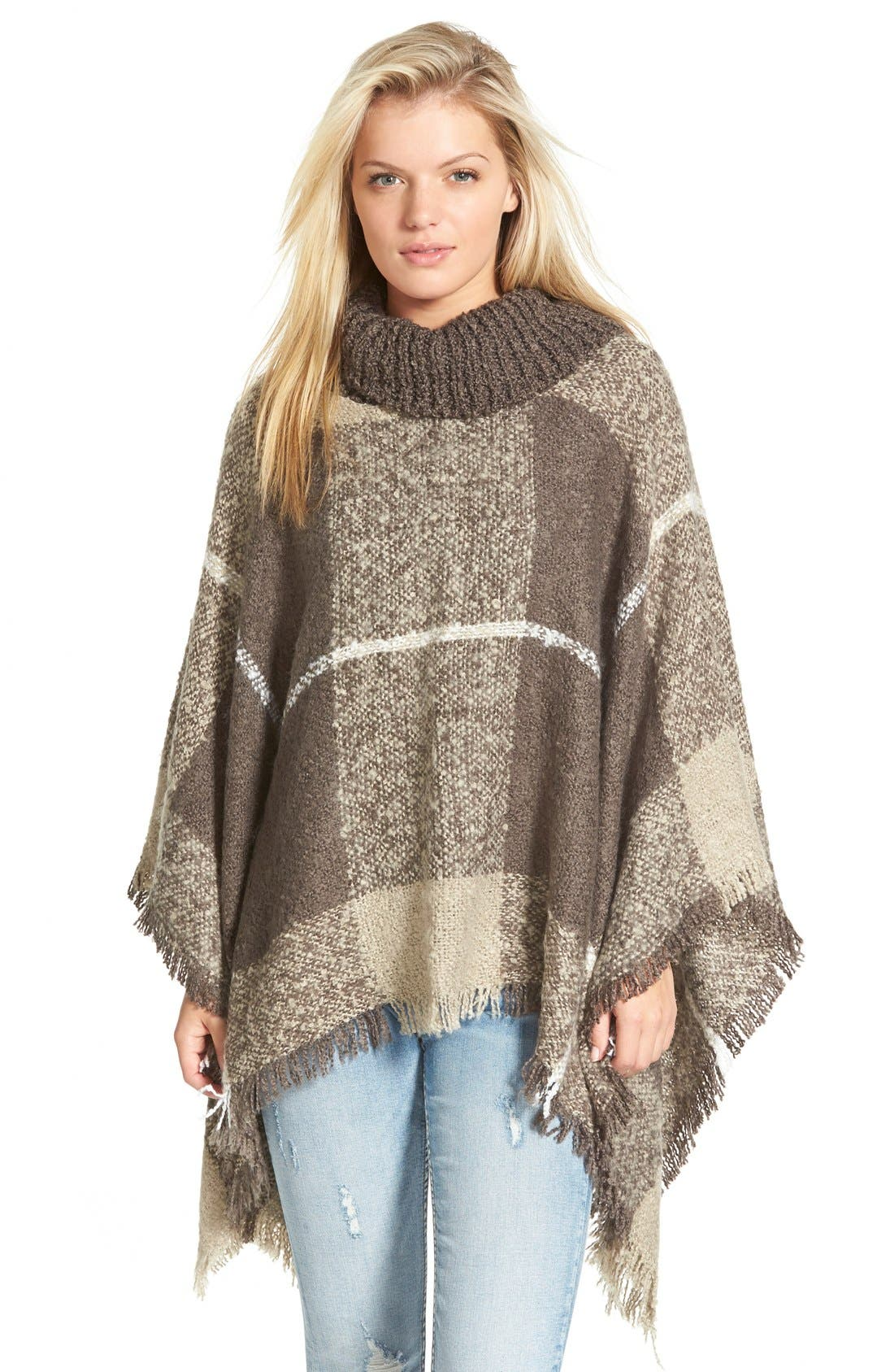 Alternate Image 1 Selected - Woven Heart Cowl Neck Poncho