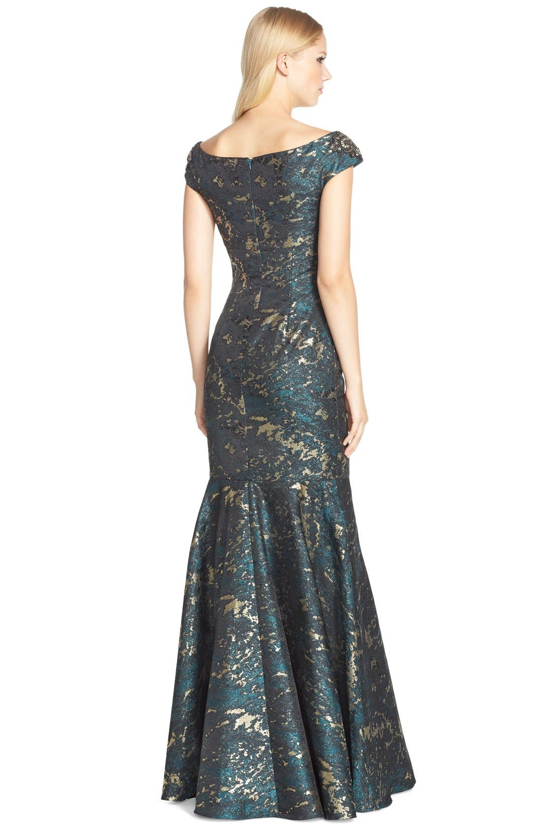 Alternate Image 2  - David Meister Off the Shoulder Jacquard Mermaid Gown