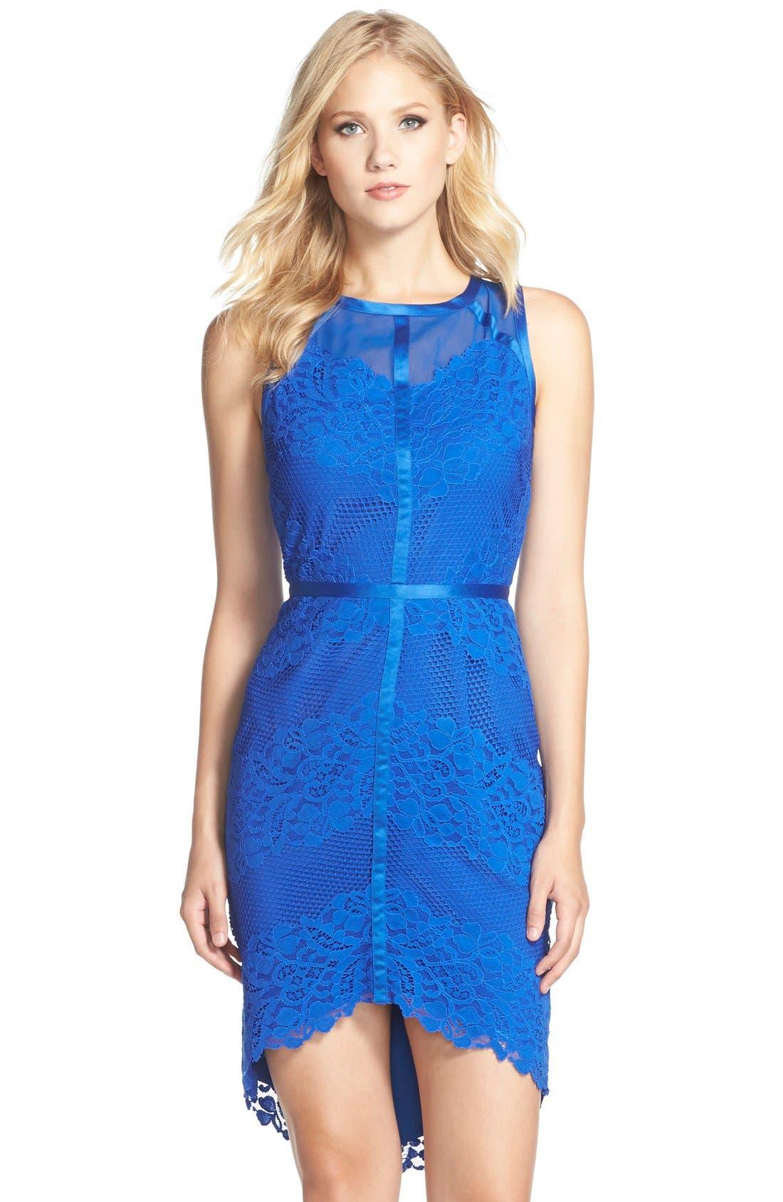 Alternate Image 1 Selected - Adelyn Rae Lace, Mesh & Chiffon Sheath Dress