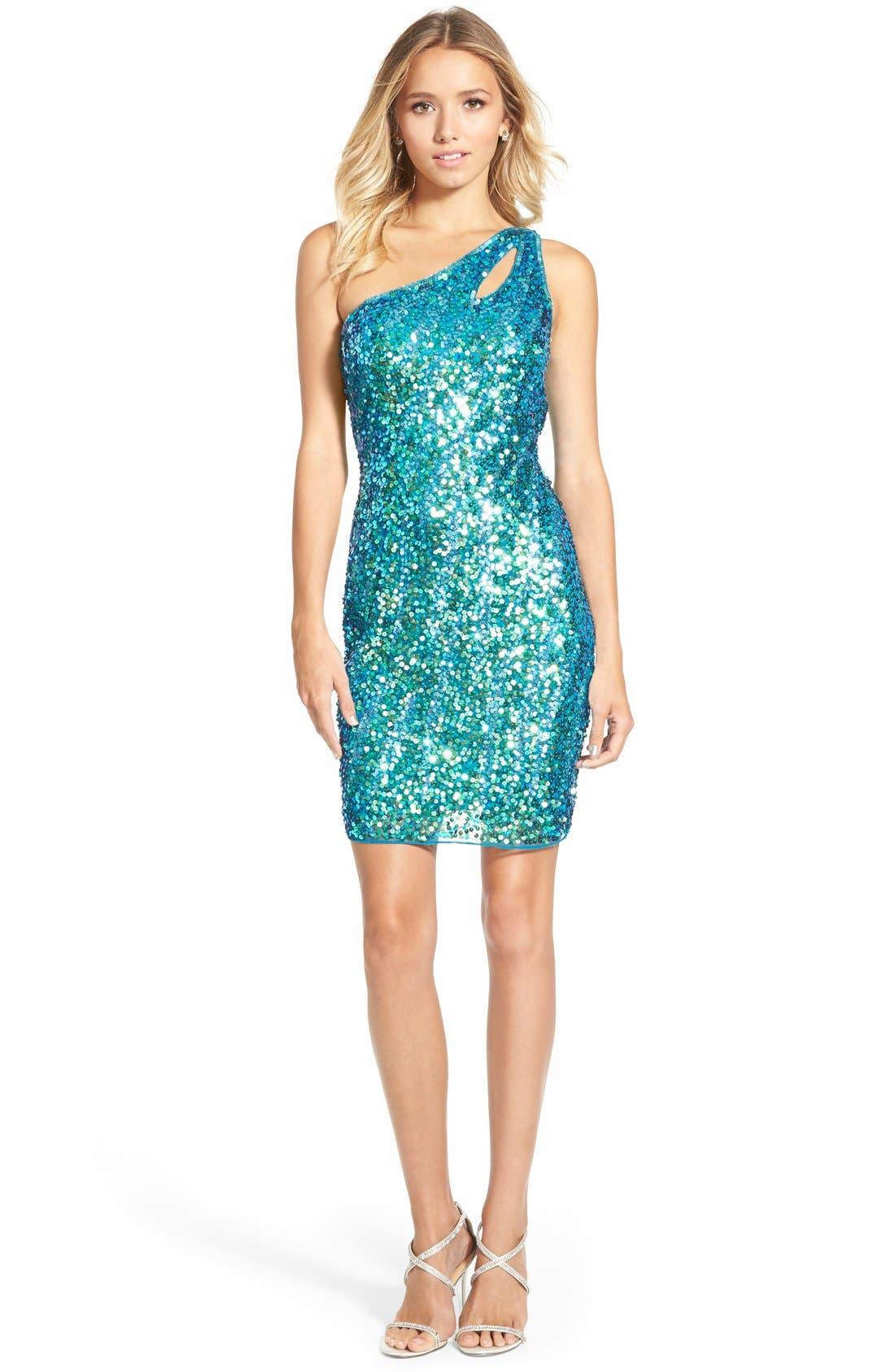Main Image - Mac DuggalSequin One-Shoulder Body-Con Dress