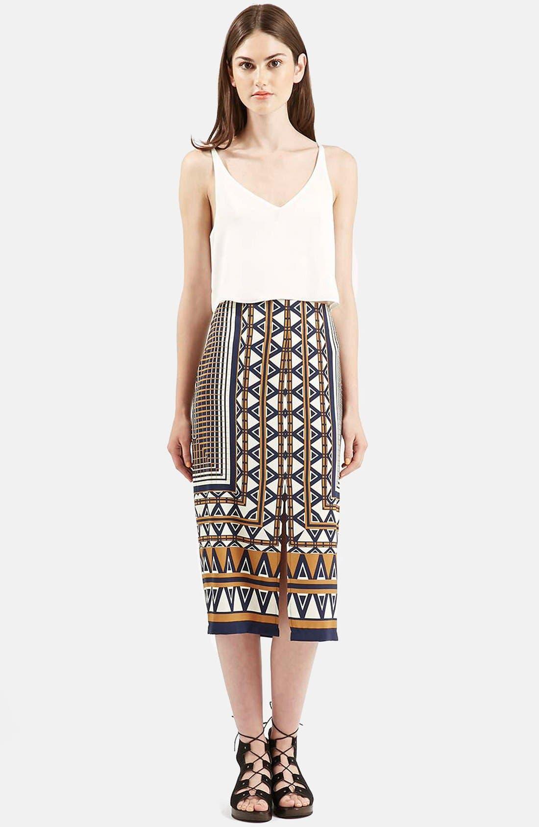 Alternate Image 2  - Topshop Print Midi Skirt
