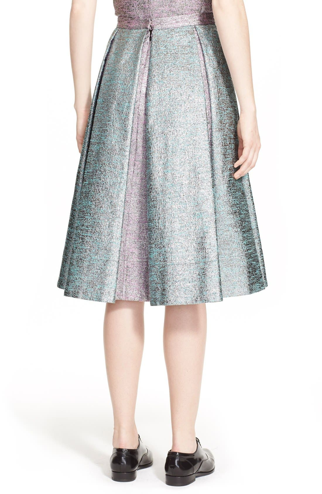 Alternate Image 2  - PASKAL Metallic Inverted Pleat Flared Skirt
