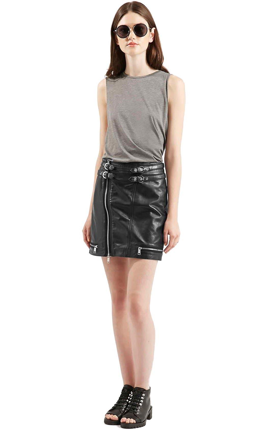 Alternate Image 2  - Topshop Zip Leather Miniskirt