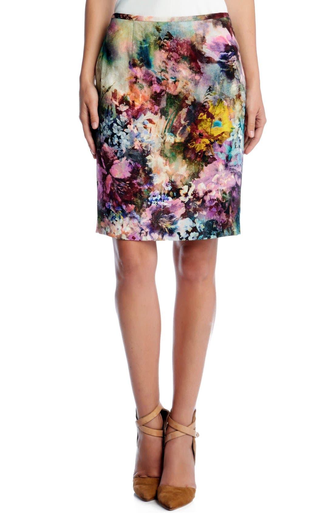 Main Image - Karen Kane 'Avant Garden' Print Pencil Skirt