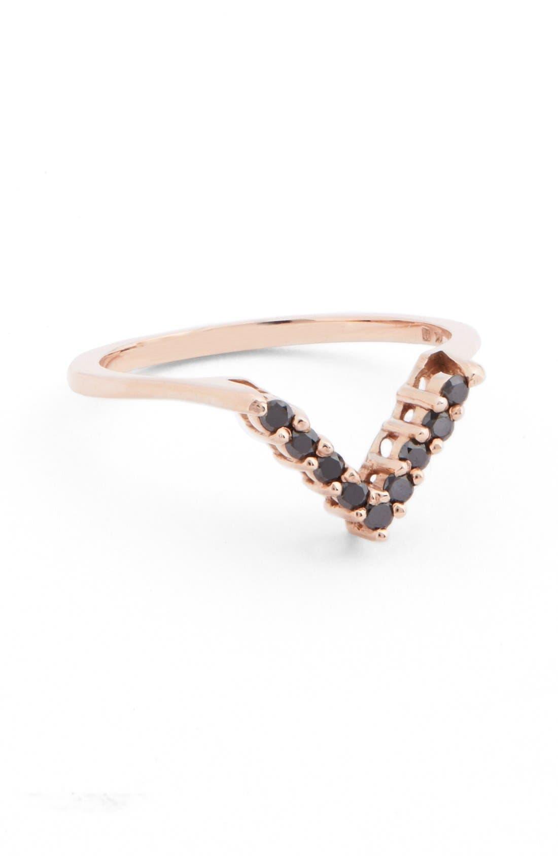 Anna Sheffield Black Diamond Chevron Ring