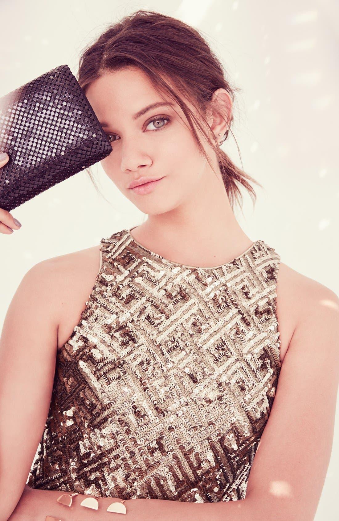 Alternate Image 5  - Dress the Population 'Mia' Sequin Cutaway Fit & Flare Dress