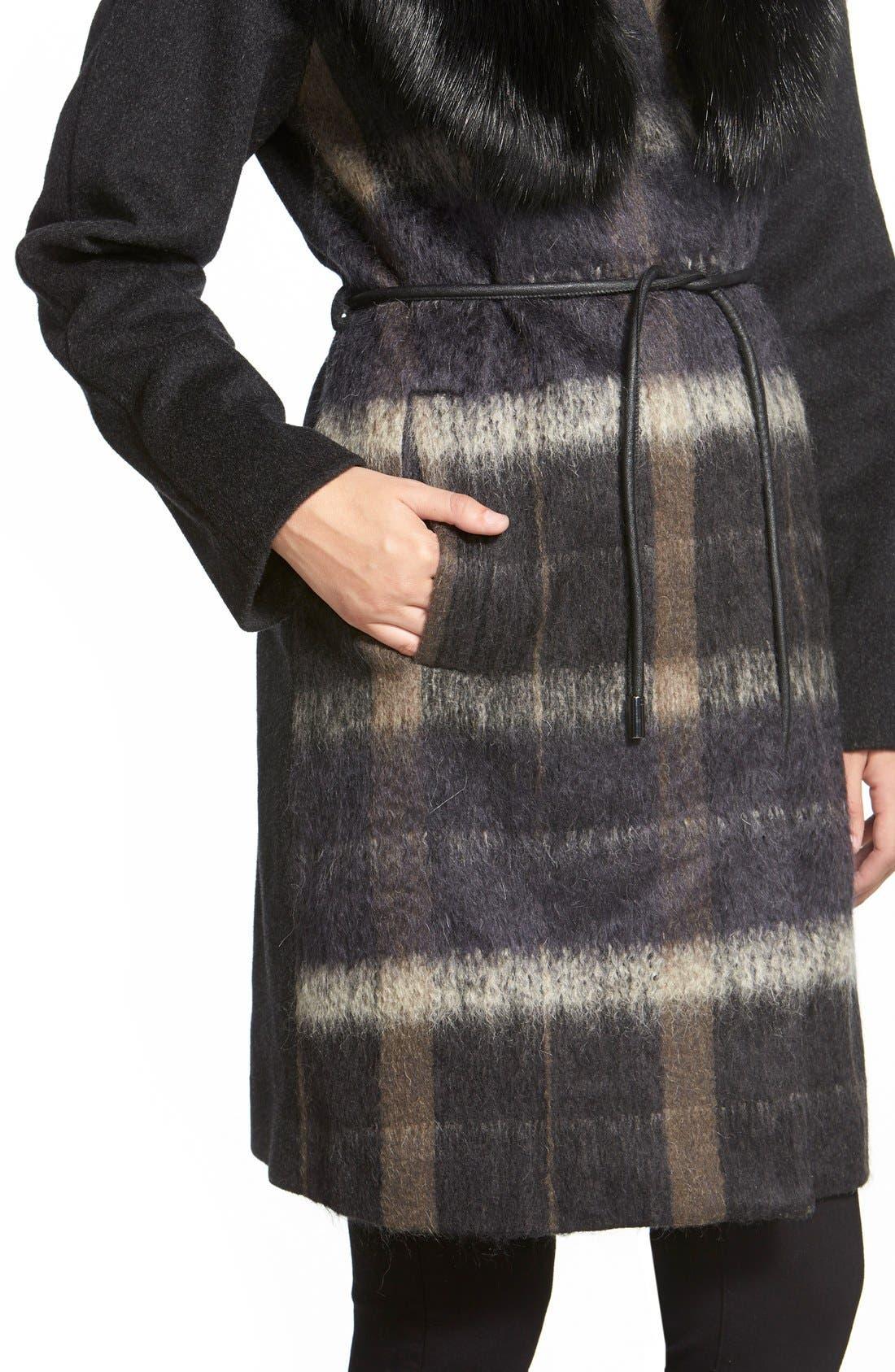 Alternate Image 4  - Vera Wang 'Sophie' Faux Fur Collar Mixed Media Coat