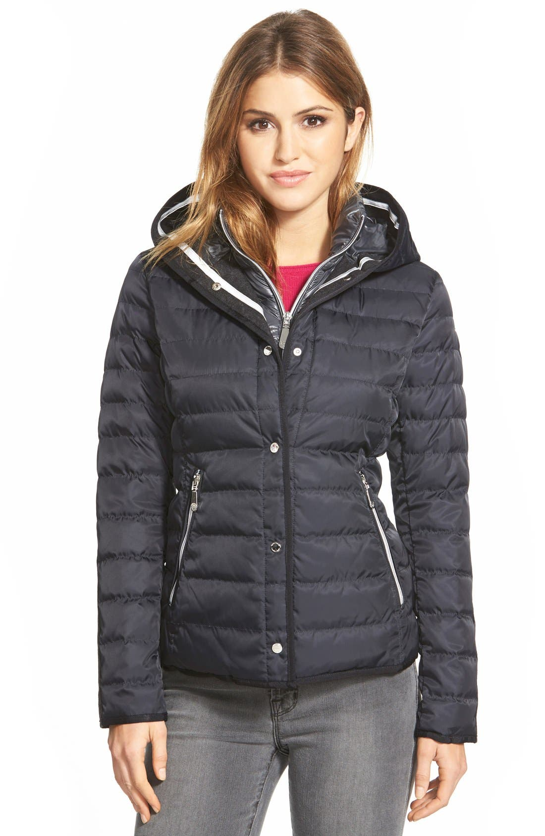 Main Image - Vince CamutoHooded Down Jacket with Vest Front Insert