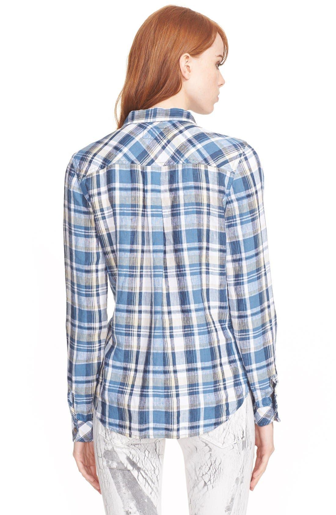 Alternate Image 2  - Current/Elliott 'The Slim Boy' Plaid Linen Shirt