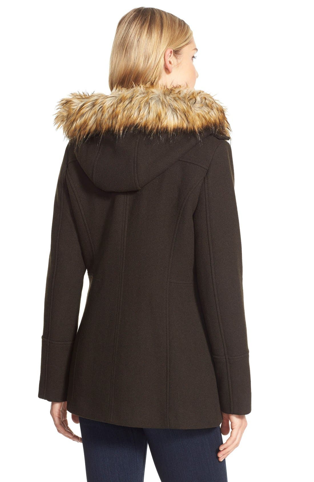 Alternate Image 2  - <br> MICHAEL Michael Kors Belted Asymmetrical Wool Blend Coat with Faux Fur<br>