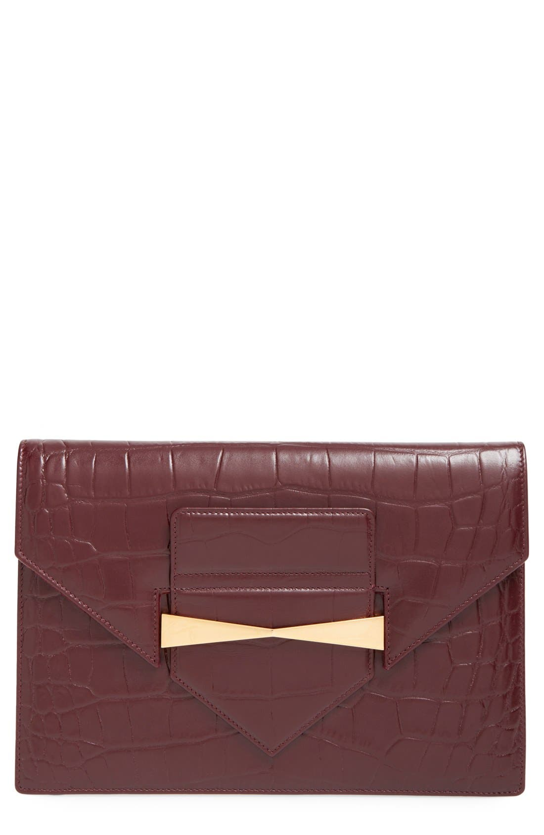 Alternate Image 1 Selected - Alexander McQueen Croc Embossed Envelope Clutch