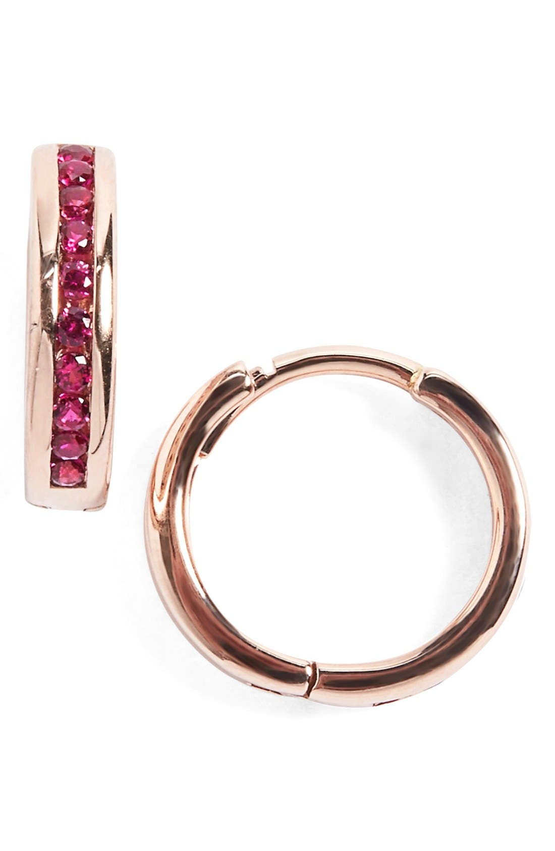 ANNA SHEFFIELD 'Licol' Ruby Hoop Earrings